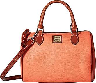 Dooney & Bourke Pebble Trudy Satchel (Coral/Tan Trim) Handbags