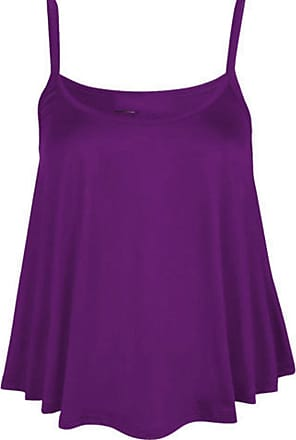 Purple Hanger Womens Plain Sleeveless Ladies Round Scoop Neckline Stretch Slim Straps Strappy Flared Swing Camisole T-Shirt Vest Top Purple Size 12 - 14 (M/L)