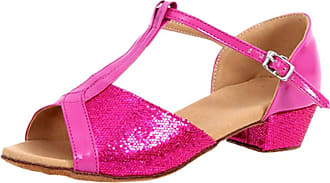 Insun Girls 1.4 Sequined Latin Ballroom Dance Shoes Fuchsia Rubber Sole 10.5 UK Child