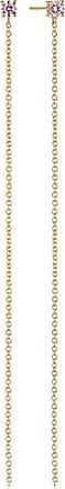 Sif Jakobs Jewellery Earrings Princess Lungo - 18k gold plated with pink zirconia