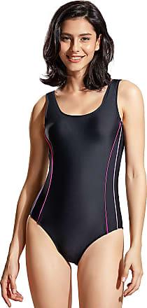 Delimira Womens Slimming One Piece Swimsuit Retro Bathing Suit Black-Moderate Leg 18