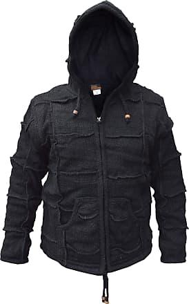 Gheri Mens Natural Woolen Elf Wizard Pixie Patch Festival Hoodie Jacket Black X-Large