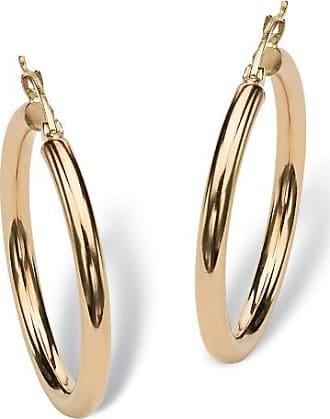 PalmBeach Jewelry Polished Hoop Earrings in 10k Yellow Gold (1 1/4)