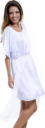 aee3bc94c7 101 Resort Wear Vestido Evasê 101 Resort Wear Kaftan Midi Crepe Branco