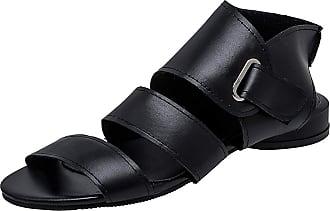 Mediffen Women Low Heels Comfort Open Toe Casual Gladiator Sandals Summer Vintage Roman Sandals Black Size 39 Asian