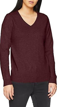 Vila Womens Viril L/s V-Neck Knit Top Jumper, Purple (Winetasting Detail:Melange), 14 (Size: Large)