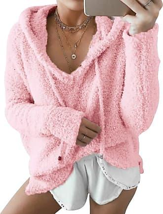 Isshe Womens Fluffy Fleece Hoodie Sweatshirt Pullover Ladies Fuzzy Fleece V Neck Jumper Outwear Long Sleeve Zipper Oversized Hooded Sweatshirts Plain Hoodie