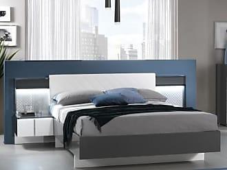 Vente-unique.ch Polsterbett mit 2 LED-Nachttischen CONSCIENCE - 160x200cm - Grau