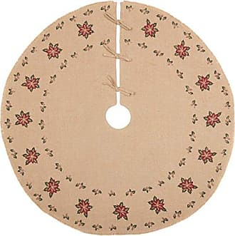 VHC Brands Holiday Decor-Jute Burlap Tan Poinsettia Tree Skirt, 48 Diameter