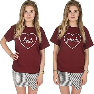 Sanfran Clothing Sanfran - Best Friends Top Funny Matching Besties BFF Heart T-Shirt - Extra Large & Medium/Maroon