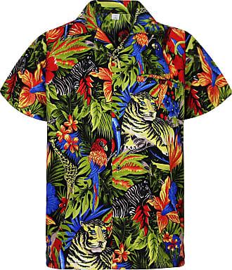 V.H.O. Funky Hawaiian Shirt, Shortsleeve, Jungle, Black, XXL