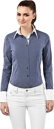Vincenzo Boretti Womens Blouse Slim-fit Cotton-Stretch Easy Iron Kent Collar Long-Sleeve Striped Design Nice Elegant Ladies Fashion Style for Office Work, Formal and C