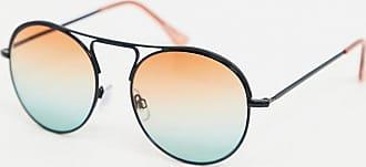 Jeepers Peepers Occhiali da sole rotondi con lenti sfumate blu e arancioni-Nero