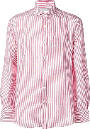 Brunello Cucinelli Camisa listrada - Vermelho