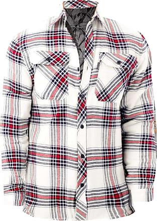 JD Williams Mens Flannel Padded Work Shirt Yarn Dyed Quilted Lumberjack Jacket Regular & Big [White Red - RiverRoad Quilted, XL]