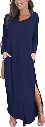 Re Tech UK Womens Ladies Side Slit Maxi Dress with Pockets Short Sleeve Curved Hem Casual Split Plain Loose Baggy Lagenlook V-Neck (24-26 UK (Plus Size) XXXL, Lo