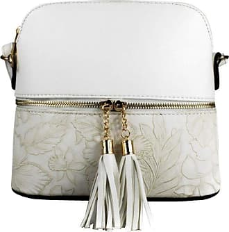 LeahWard Womens Quality Faux Leather Cross Body Bags Tassel Shoulder Bag Handbags For Holiday Party 1061 (White Floral)