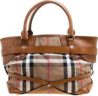 d370c5ca85f3 Burberry Brown House Check Canvas And Leather Medium Bridle Lynher Tote