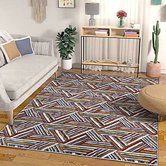 Well Woven Essence Multi Red Blue & Yellow Modern Geometric High-Low Pile Area Rug 5x7 (53 x 73) Abstract Triangle Boxes Carpet