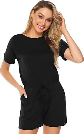 Abollria Playsuits for Women Elegant Short Sleeve Tie Waist Boho Casual Short Romper Jumpsuit Black XXL