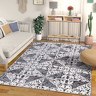 Well Woven Ayla Grey Modern Trellis High-Low Pile Area Rug 5x7 (53 x 73) Floral Triangles Geometric Carpet, G