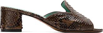 Blue Bird Shoes Mule com salto Python - Marrom