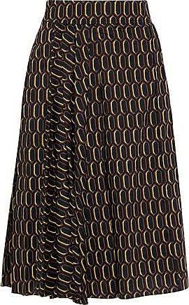 237e43a0f0 Marni Marni Woman Pleated Printed Cotton-poplin Skirt Black Size 38