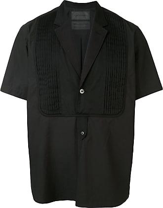 Fumito Ganryu Camisa gola V com mangas curtas - Preto