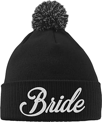 HippoWarehouse Bride Embroidered Beanie Hat with Bobble Black