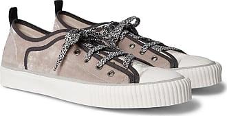 Lanvin Cap-toe Canvas-trimmed Velvet Sneakers - Gray