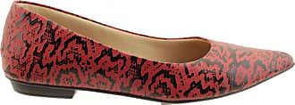 Arzon Sapatilha Feminina com Bico Fino Vermelha - Vermelho escuro - 35