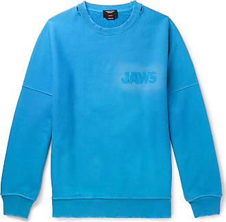 CALVIN KLEIN 205W39NYC Jaws Oversized Distressed Loopback Cotton-jersey Sweatshirt - Light blue