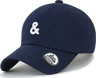 Ililily Solid Color Ampersand Patch Baseball Cap Strapback Casual Trucker Hat, Navy