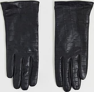 Barneys real leather gloves in mock croc-Black