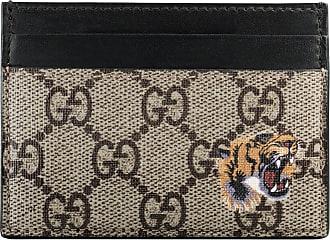 Gucci Porta carte in tessuto GG Supreme con stampa tigre
