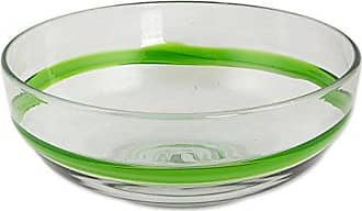 Novica 265229 Lime Band Blown Glass Bowl, Clear Green
