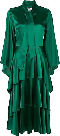 Osman Vestido Hendra com babados - Verde