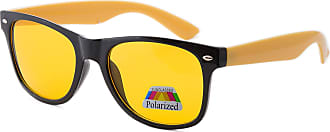 morefaz Unisex Night and Day Vision Driving Glasses Polarized Poor Weather Conditions DRIVERS UK (Yellow Side Polarized)