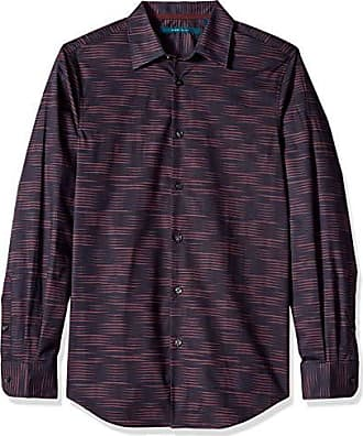 Perry Ellis Mens Stripe Print Shirt, Sassafras/DFW Extra Extra Large