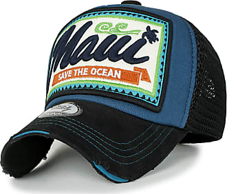 Ililily Maui Embroidery Patch Casual Mesh Baseball Cap Distressed Trucker Hat, Blue Green