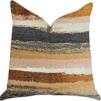 Plutus Brands Bahia Belle Striped Double Sided Luxury Throw Pillow 24 x 24 Brown/Beige/White