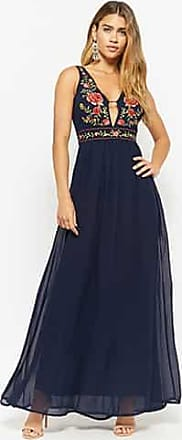 dd9a19b57bb9c Forever 21 Forever 21 Plunging Embroidered Floral Gown Navy