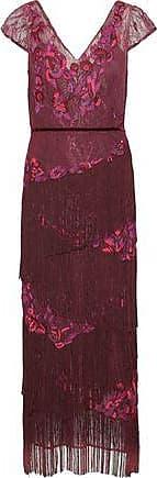 Marchesa Marchesa Notte Woman Fringed Embellished Lace Midi Dress Grape Size 4