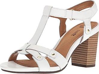 Clarks Womens Banoy Valtina Heeled Sandal, White Leather, 8 M US