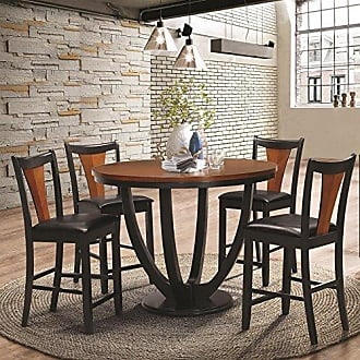 Coaster Fine Furniture Coaster Home Furnishings Boyer 5-Piece Counter Table Dining Set Black and Amber
