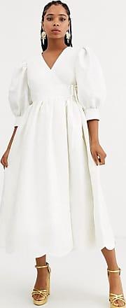 Sister Jane Dream Sister Jane - Wadenlanges Wickelkleid aus geblümtem Jacquard mit weiten Ärmeln und Muschelsaum-Weiß