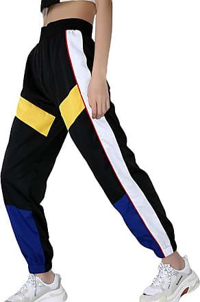 junkai 2018 Autumn Fashion Women High Waist Patchwork Pants Pencil Pants Streetwear Cargo Pants Loose Jogger Blue 3XL