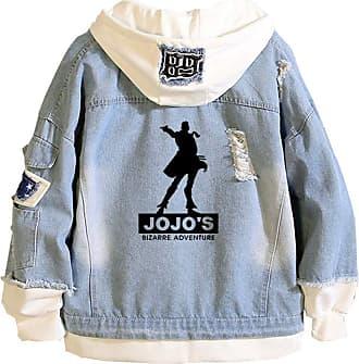 Cosstars Anime JoJos Bizarre Adventure Hooded Denim Jacket Unisex Cosplay Button Trucker Jeans Coat Blue-2-L