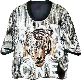 Saoye Fashion Large Sizes T-Shirts Ladies Workmanship Tiger Sequined Tops Summer Feast Clothing Fashion Short-Sleeved Round Neck Loose Shirts Party Club Short Tshir