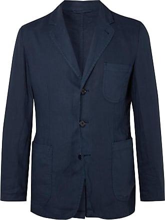 Aspesi Navy Slim-fit Unstructured Garment-dyed Linen Blazer - Blue